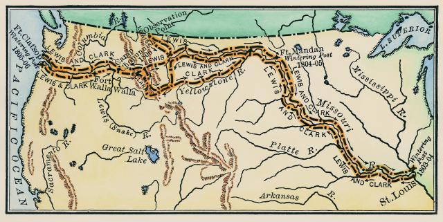 Маршрут экспедиции Льюиса-Кларка